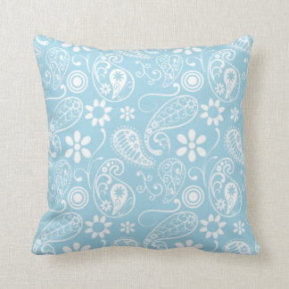 Light Baby Blue Paisley Pattern Throw Pillow