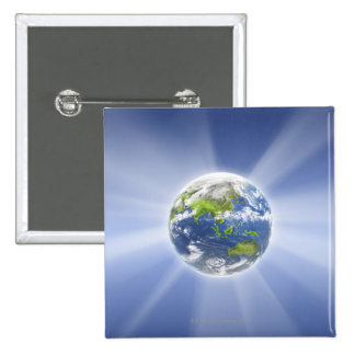 Light Beams from Earth 2 Inch Square Button