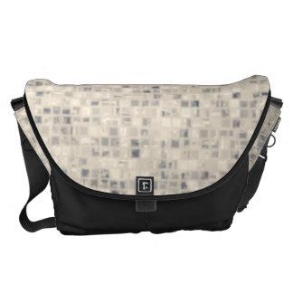 Light Beige Block Pattern Messenger Bags