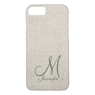 Light beige ecru Dark Grey Linen White Monogram iPhone 7 Case
