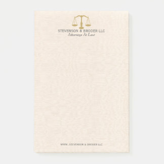 Light Beige Linen & Gold Law Practice Scale Post-it Notes