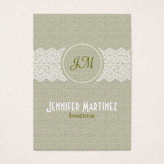 Light Beige Linen & White Lace Business Card