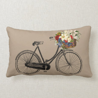 Light  bicycle flower   Throw pillow taupe