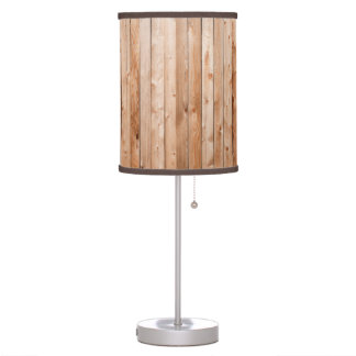 Light Blond Wood Fencing Panels Table Lamp