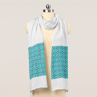 Light Blue Abstract Print Jersey Scarf
