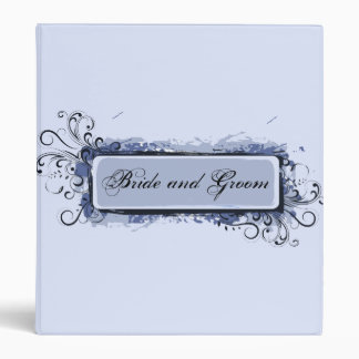 Light Blue Abstract Swirls Wedding Binder
