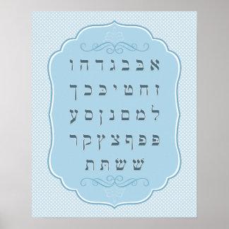 Light Blue Alef Bet Poster