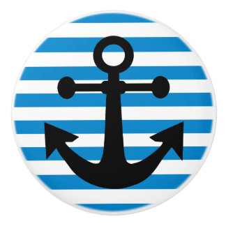Light Blue  Anchors Away Ceramic Knob