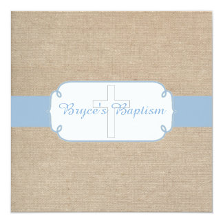 Light Blue and Beige Burlap Baptism Invitation