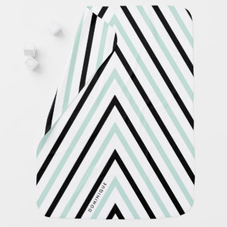 Light Blue and Black Stripes Pattern Personalized Baby Blanket