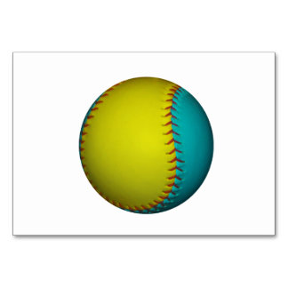 Light Blue and Bright Yellow Softball Table Cards