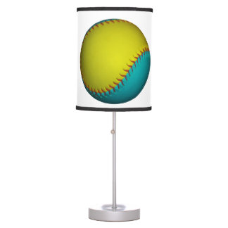 Light Blue and Bright Yellow Softball Table Lamp