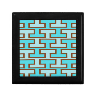Light Blue and Brown Bricks Trinket Box