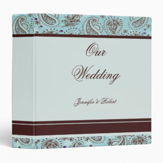 Light Blue and Brown Paisley Wedding Album 3 Ring Binder