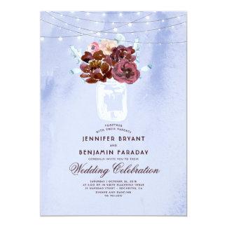 Light Blue and Burgundy Floral Mason Jar Wedding Card