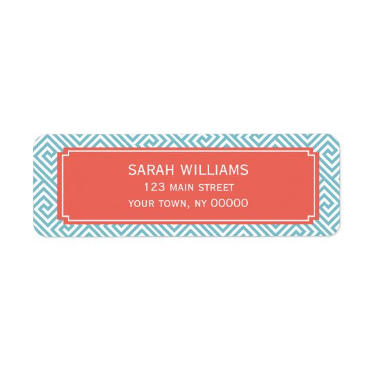 Light Blue and Coral Greek Key Pattern Return Address Label