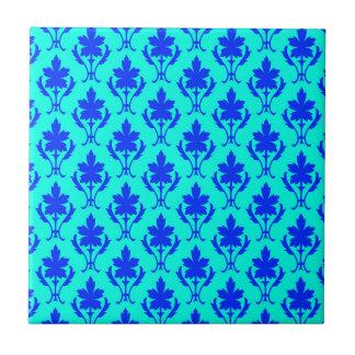 Light Blue And Dark Blue Ornate Wallpaper Pattern Ceramic Tiles