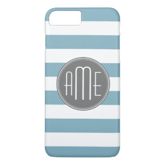 Light Blue and Gray Striped Pattern Monogram iPhone 8 Plus/7 Plus Case