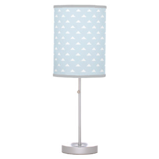 Light blue and gray triangle pattern table lamp