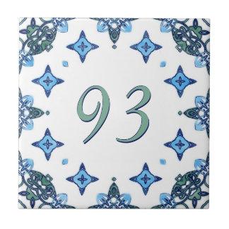 Light Blue and Green Big House Number Ceramic Tiles