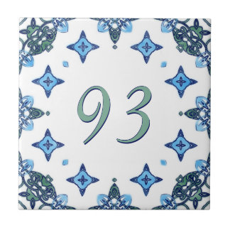Light Blue and Green Big House Number Tile