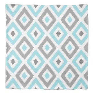 Light Blue and Grey Ikat Diamond Pattern Duvet Cover