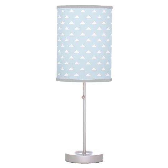 Light blue and grey triangle pattern table lamp