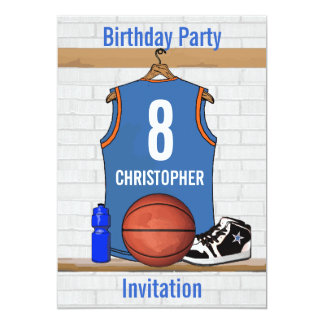 Light Blue and Orange Basketball Jersey Birthday Card