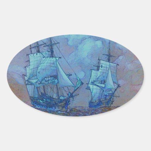 light blue and orange sea sailing boats sticker