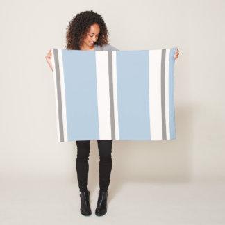 light blue and pastel brown stripes fleece blanket