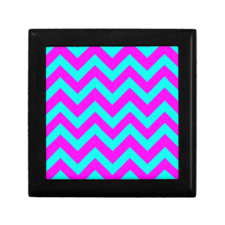 Light Blue And Pink Chevrons Trinket Boxes