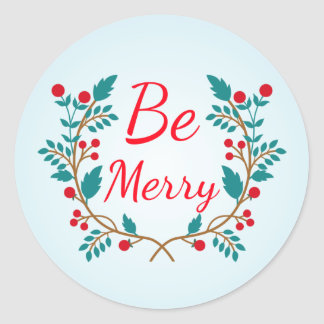 "Light Blue and Red Christmas Wreath ""Be Merry"" Round Sticker"