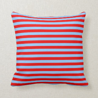 Light Blue and Red Stripes Throw Pillow