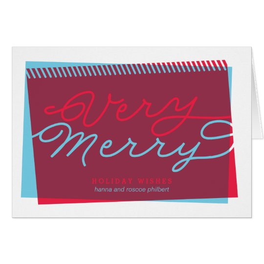 Light Blue and Red Very Merry folded holiday Card