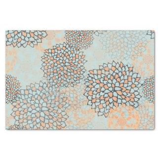 Light Blue and Tan Flower Burst Design Tissue Paper