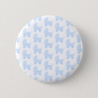 Light Blue and White Baby Stroller Pattern. 2 Inch Round Button