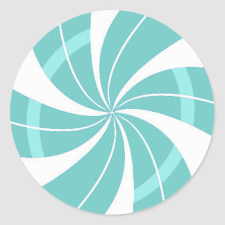 Light blue and white candy swirl, peppermint candy classic round sticker