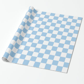 Light Blue and White Checkered Wrapping Paper