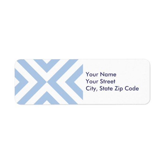 Light Blue and White Chevrons return address label