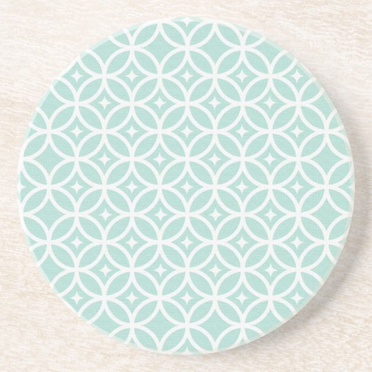 Light Blue and White Circle and Star Pattern Coaster