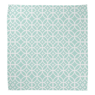 Light Blue and White Circle and Star Pattern Head Kerchief