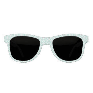 Light Blue and White Circle and Star Pattern Sunglasses