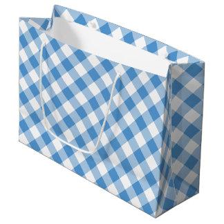 Light Blue and White Diagonal Plaid Gift Bag