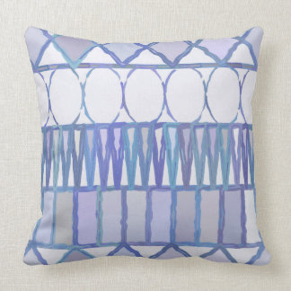 Light Blue and White Geometric Shapes Pillow