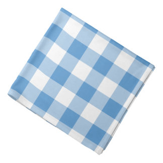 Light Blue and White Gingham Pattern Bandannas