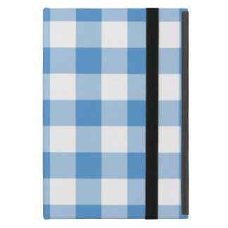 Light Blue and White Gingham Pattern iPad Mini Cases