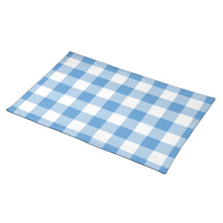 Light Blue and White Gingham Pattern Placemat