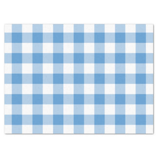 Light Blue and White Gingham Pattern Tissue Paper