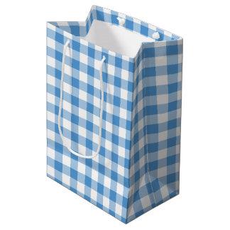 Light Blue and White Gingham Plaid Gift Bag