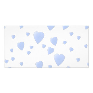 Light Blue and White Love Hearts Pattern Personalized Photo Card
